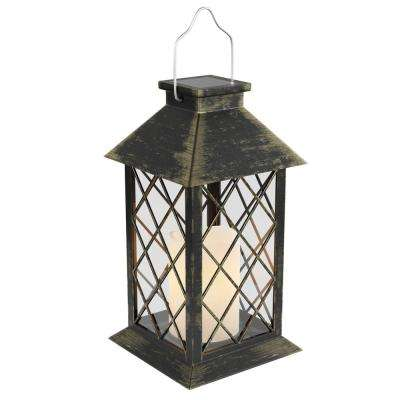 13.25 in. Antique Bronze Outdoor Solar Powered Lantern Lamp with LED Pillar Candle