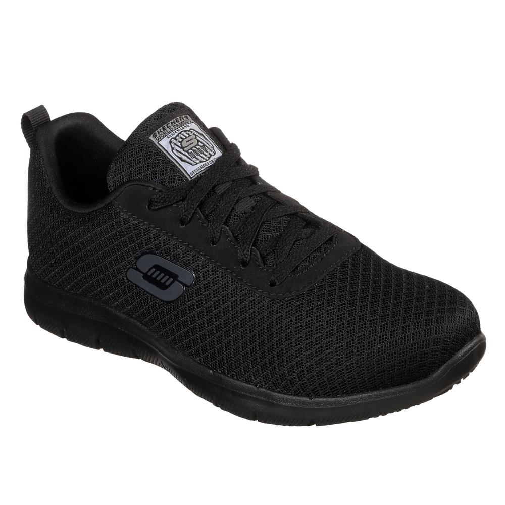 Becks Salida hacia niña  Skechers Women's Ghenter - Bronaugh Slip Resistant Athletic Shoes - Soft  Toe - Black Size 8.5(W)-77210W-8.5 - The Home Depot