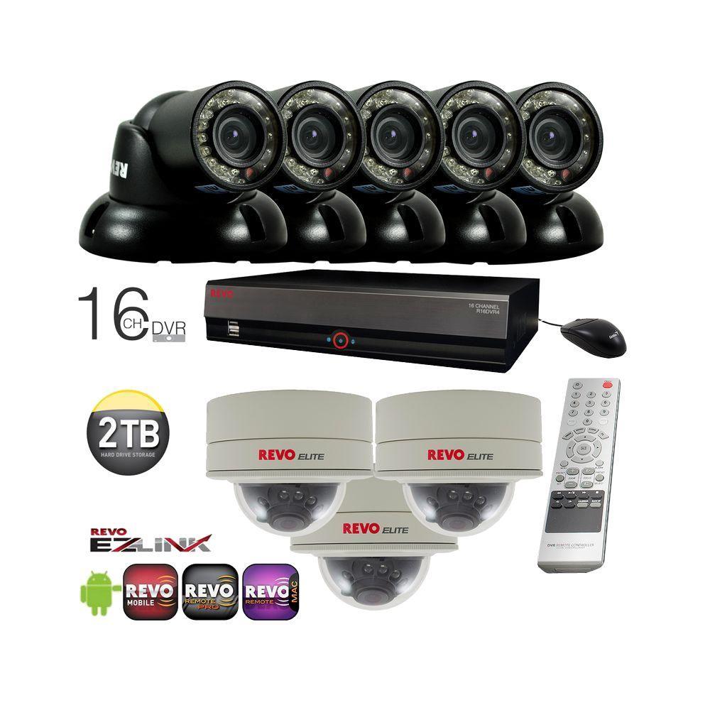 Revo All Mini Cameras System with 16-Channel 2 TB DVR, (5) 700 TVL Mini Turrets and (3) 700 TVL Mini Domes