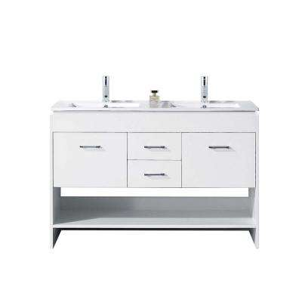 Gloria 48 in. W Bath Vanity in White with Ceramic Vanity Top in Slim White Ceramic with Square Basin