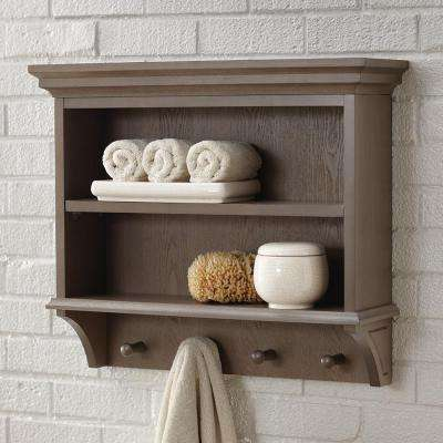 Albright 24 in. W x 21 in. H x 7 in. D Wall-Mount 2-Tier Bathroom Shelf with Wooden Towel Pegs in Winter Gray