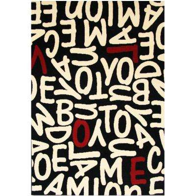Terra Jumble Love Black 5 ft. 3 in. x 7 ft. 6 in. Area Rug