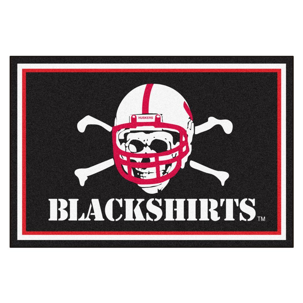 NCAA - University of Nebraska - Blackshirts Black 5 ft. x 8 ft. Area Rug