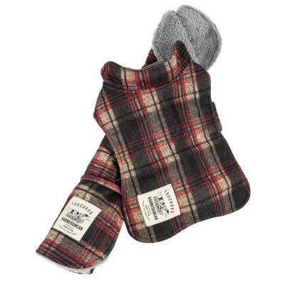 X-Small Red 2-in-1 Tartan Plaided Dog Jacket with Matching Reversible Dog Mat