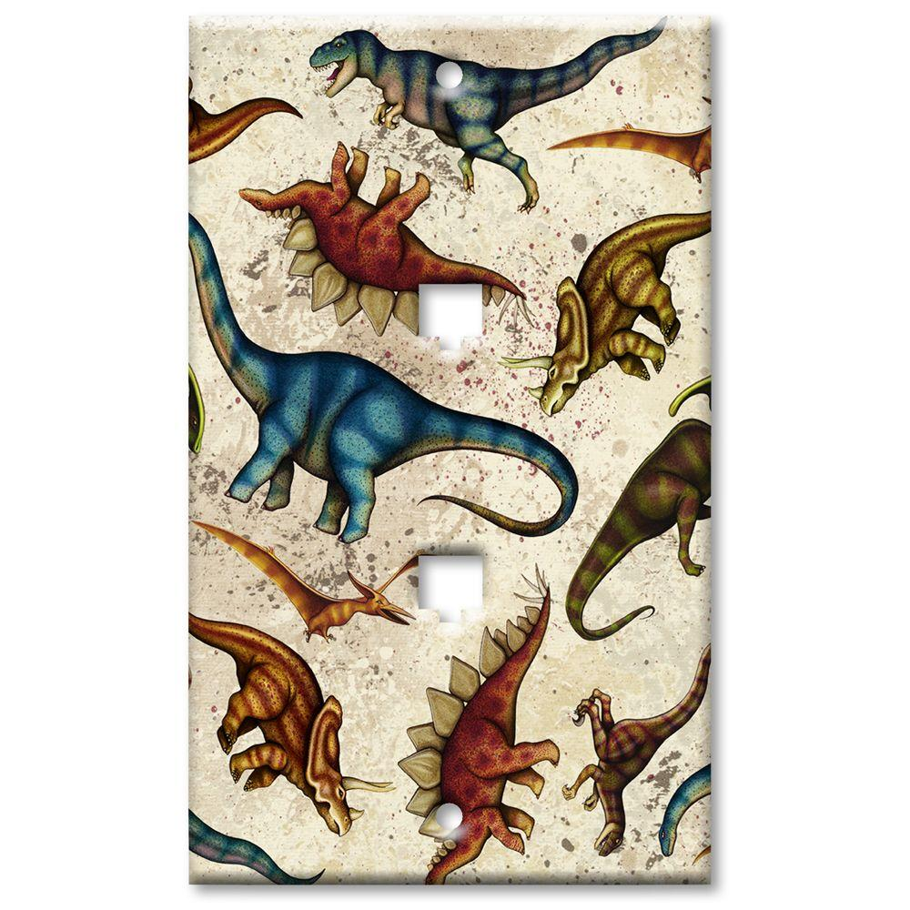 Art Plates Dinosaurs - Double Phone Jack Wall Plate