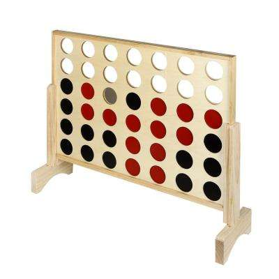 31.5 in. L Quattro 4 in a Row Board Game with Solid Pinewood Frame and 42 Durable Game Discs