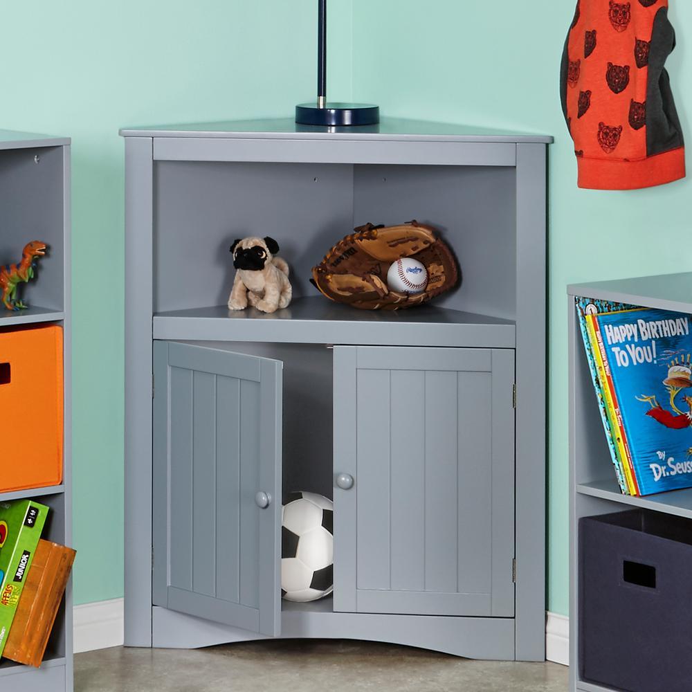 Two Door Corner Cabinet in Gray