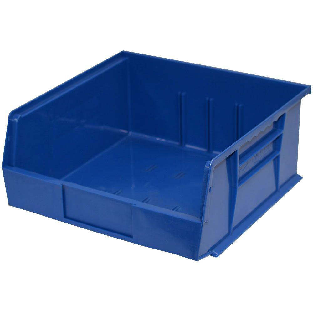 11 in. W x 10-7/8 in. D x 5 in. H Stackable Plastic Storage Bin in Blue (6-Pack)