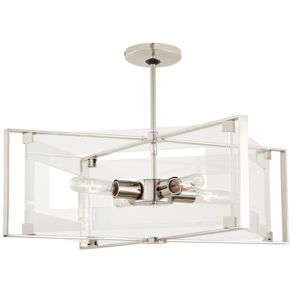 Crystal-Clear 4-Light Polished Nickel Semi-Flushmount with Clear Acrylic