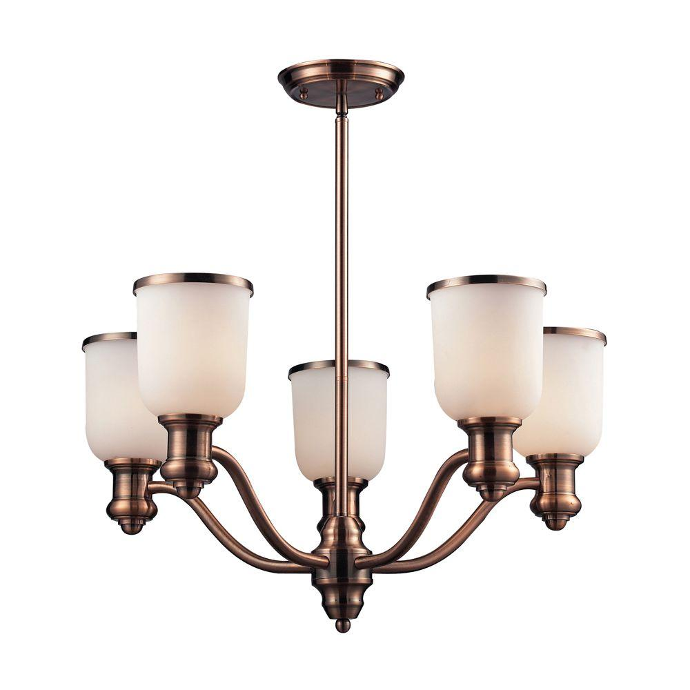 Titan Lighting Brooksdale 5-Light Antique Copper Ceiling Mount Chandelier