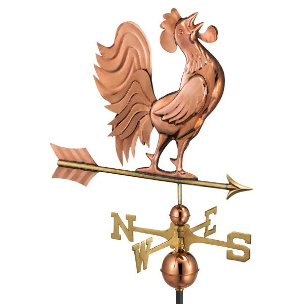 Crowing Rooster Weathervane - Pure Copper