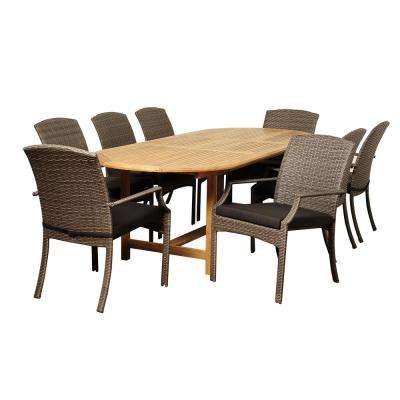 Sam 9-Piece Wood Outdoor Dining Set with Grey Cushions