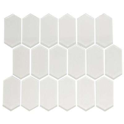 10 in. x 12 in. x 8 mm Tile Esque Stretched Hexagon White Pearlescent Glass Mesh-Mounted Mosaic Tile
