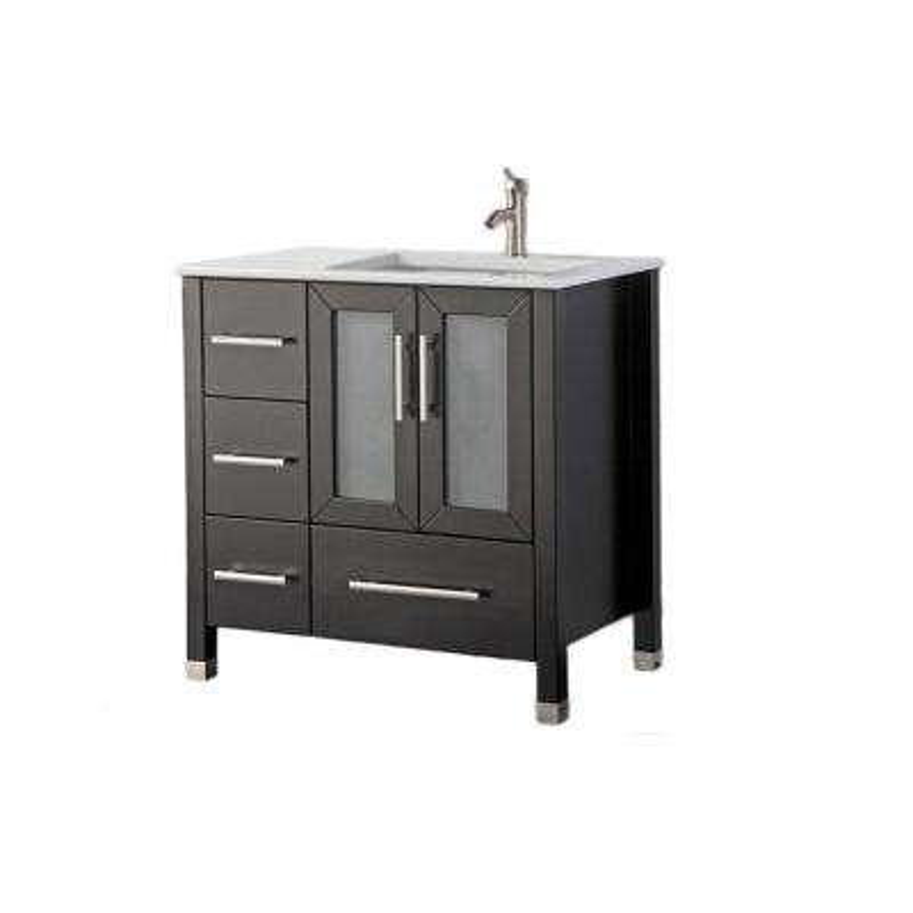 Salem-R 36 in. W x 22 in. D x 40 in. H Vanity in Espresso with Microstone Vanity Top in White with White Basin