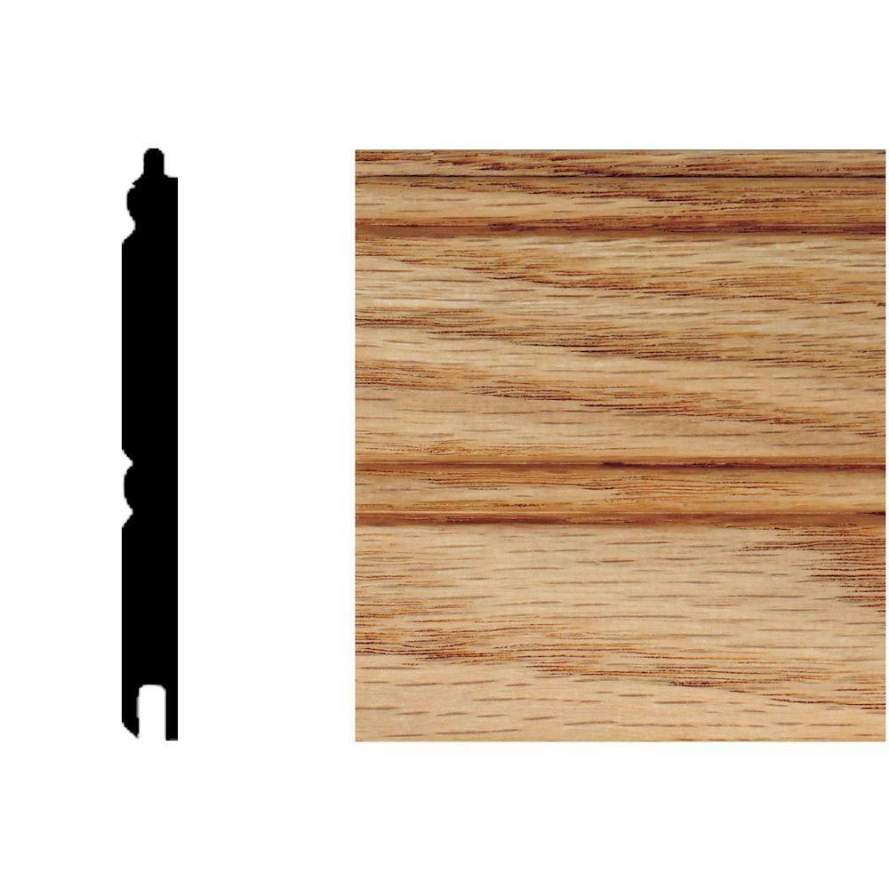 null 5/16 in. x 3-1/8 in. x 8 ft. Oak T&G Wainscot Panels (6-Pieces)-DISCONTINUED
