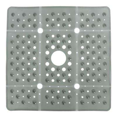 27 in. x 27 in. Extra Large Square Shower Mat in Gray