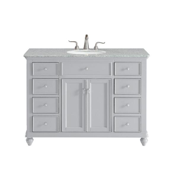 Timeless Home 48 in. W Single Bathroom Vanity in Light Grey with Vanity Top in White with White Basin