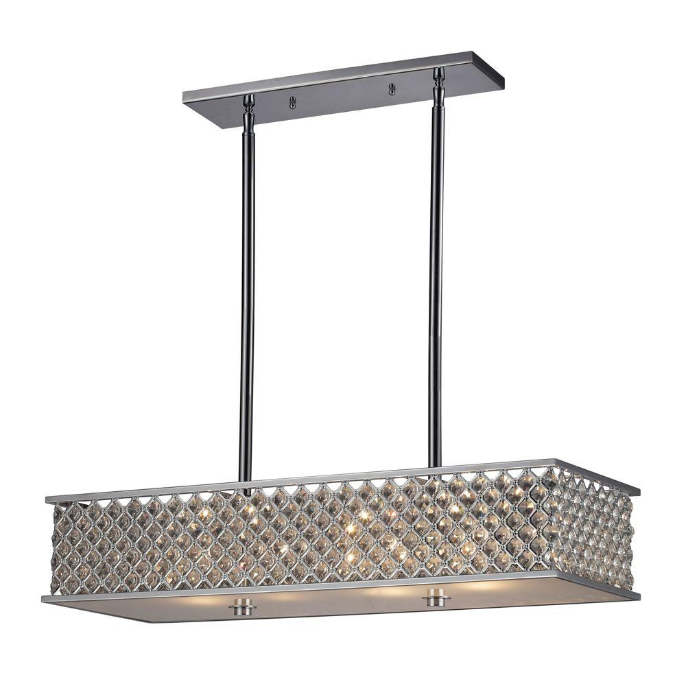 An Lighting Genevieve 4 Light Polished Chrome Island With Crystal And Metal Shade