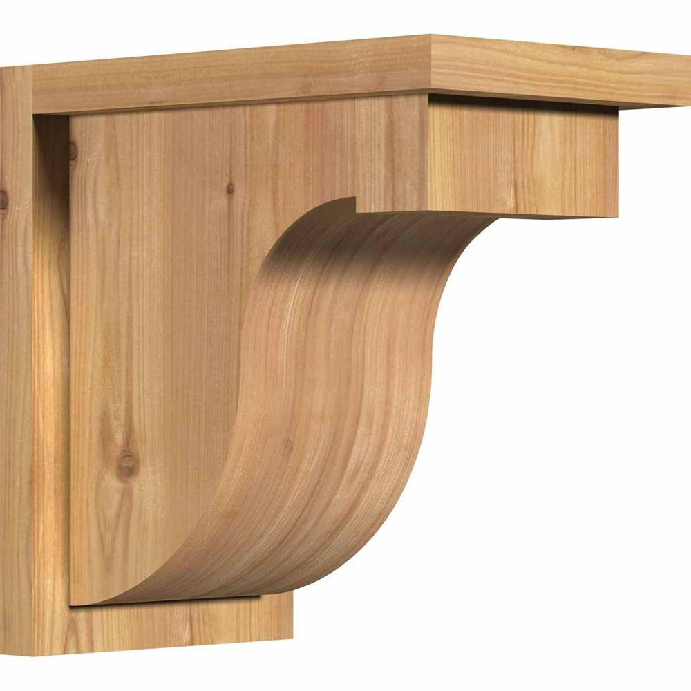 Ekena Millwork 7-1/2 in. x 12 in. x 12 in. Western Red Cedar Del Monte Smooth Corbel with Backplate