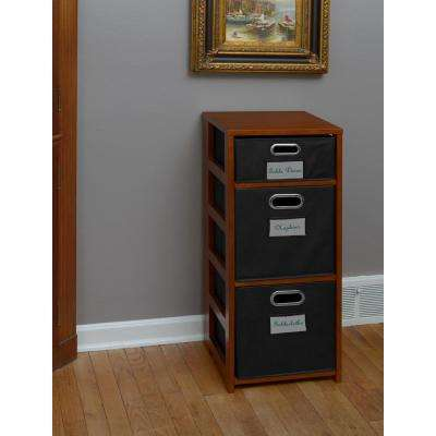 Flip Flop Cherry and Black 3-Shelf Folding Bookcase and Storage Tote Set