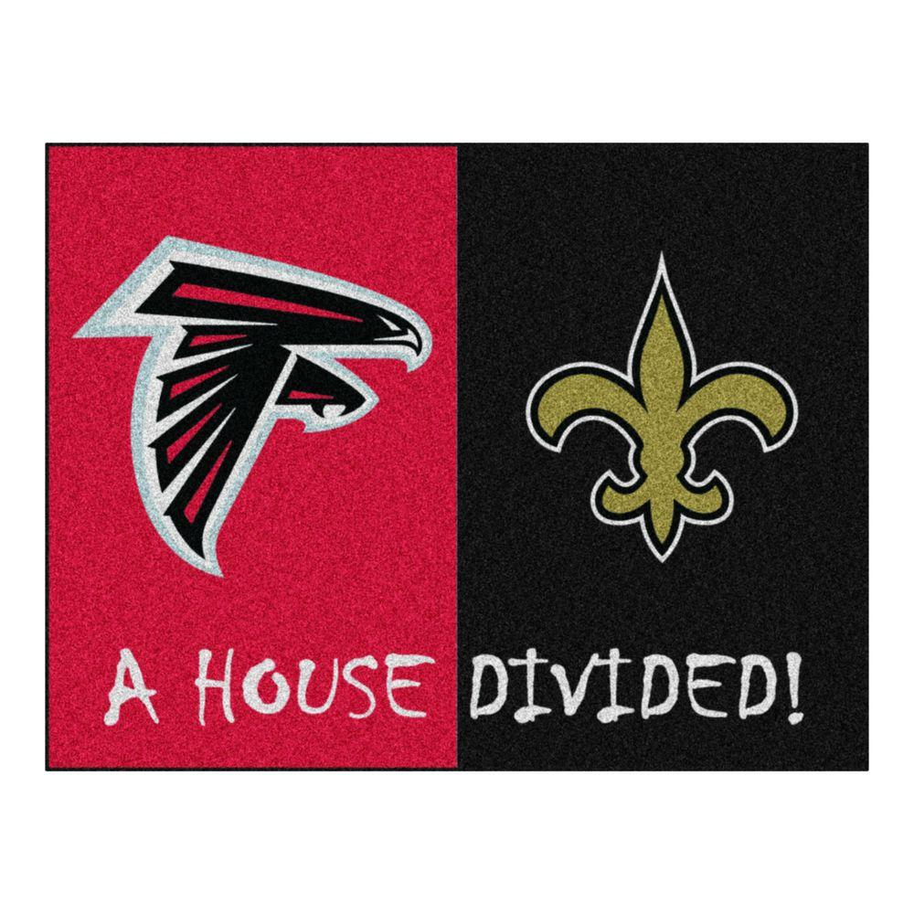 FANMATS NFL Falcons Saints Red House Divided 3 ft. x 4 ft. Area Rug ... f8b939128