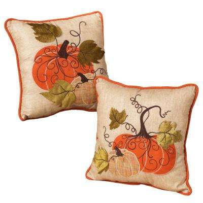14 in. Fabric Harvest Thanksgiving Pillows (Set of 2)