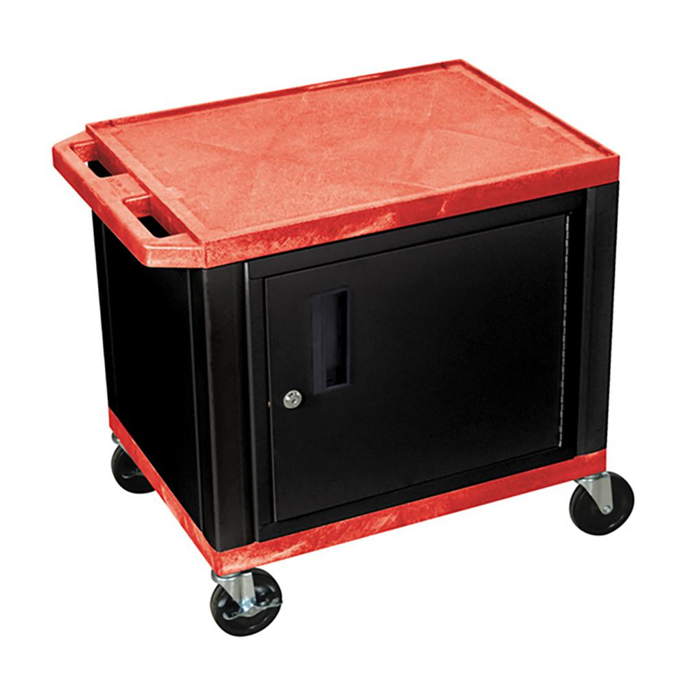 WT 26 in. A/V Cart with Black Cabinet, Red Shelves