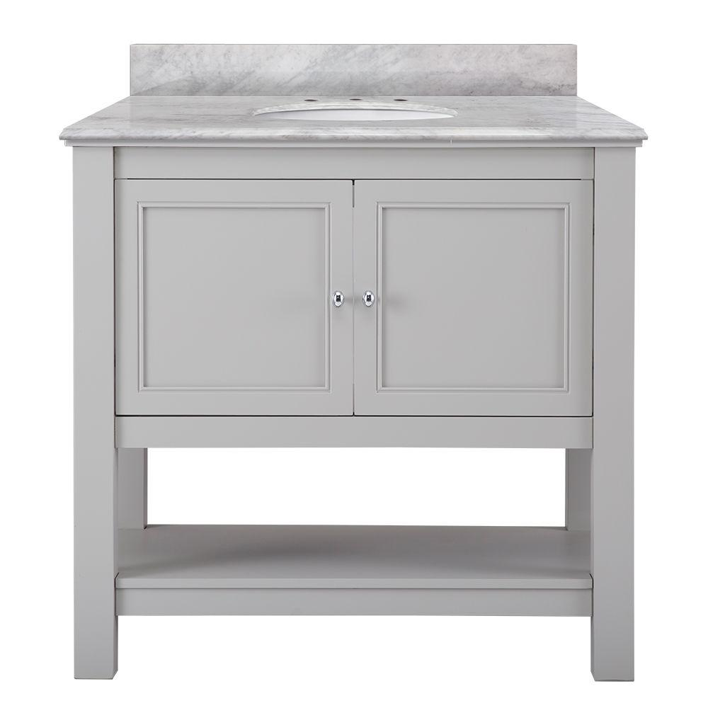 Home Decorators Collection Gazette 37 in. W x 22 in. D Vanity in Grey with Marble Vanity Top in Carrara White with White Sink was $899.0 now $629.3 (30.0% off)