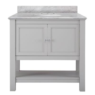 Gazette 37 in. W x 22 in. D Vanity in Grey with Marble Vanity Top in Carrara White with White Sink