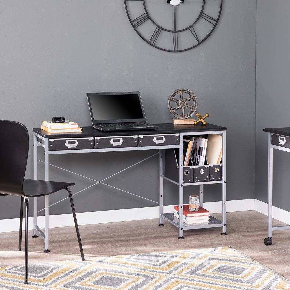 Anvela Black and Matte Silver Black Desk with Drawers