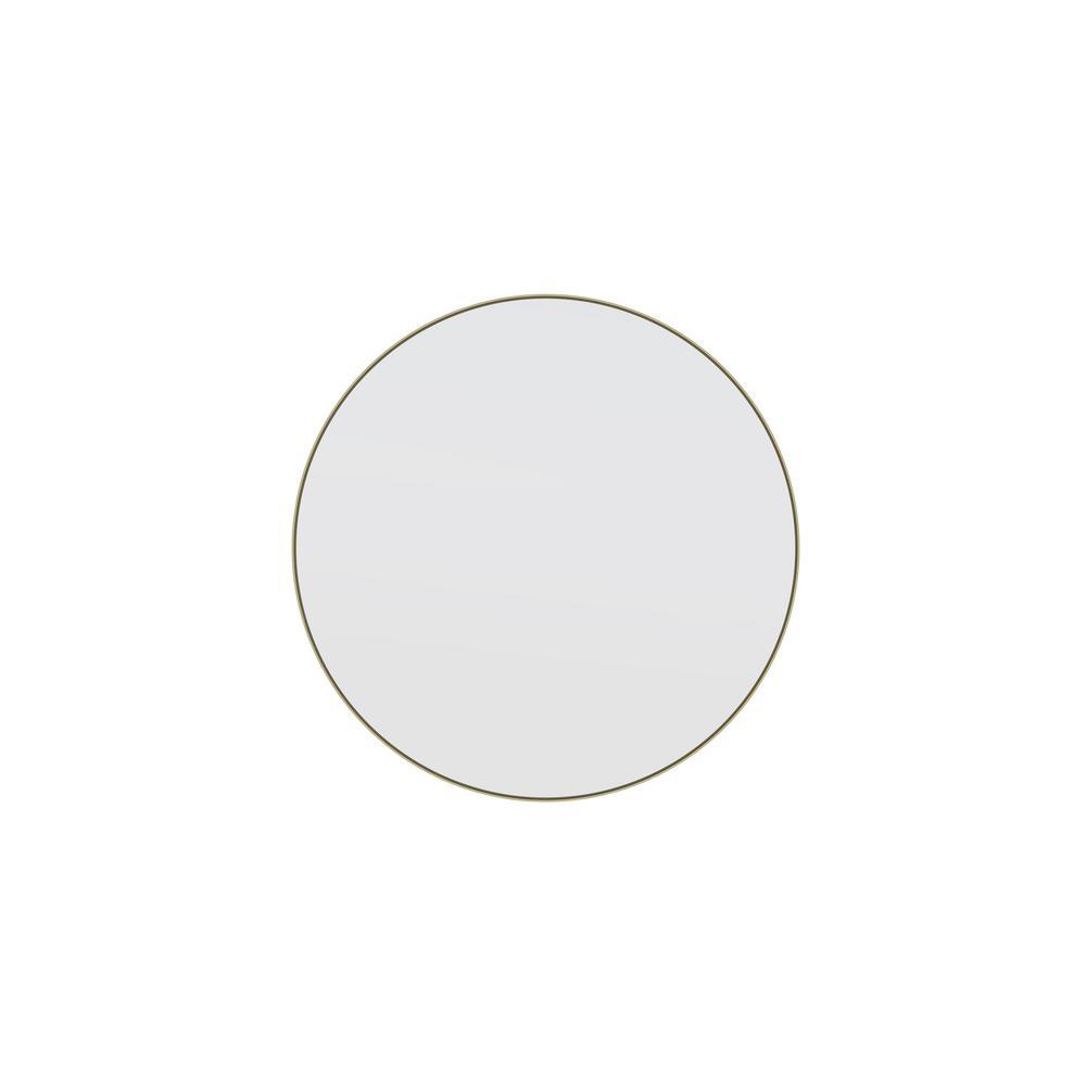 24 in. W x 24 in. H Framed Round Bathroom Vanity Mirror in Satin Brass