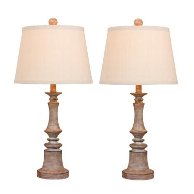 Pair of 26.5 in. Candlestick Resin Table Lamps in a Cottage Weathered Gray