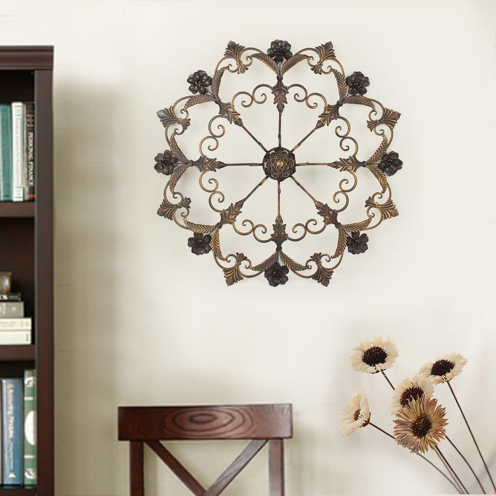 34 in. x 34 in. Round Flower Metal Wall Decor-DN0010 - The Home Depot