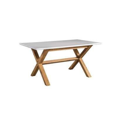 Barclay White and Natural Wood 6-Seat Dining Table