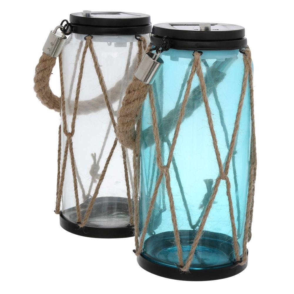 rope mason jar lights. Moonrays Solar Clear And Blue Outdoor Integrated LED Rope Lantern Lights (2-Pack) Mason Jar U