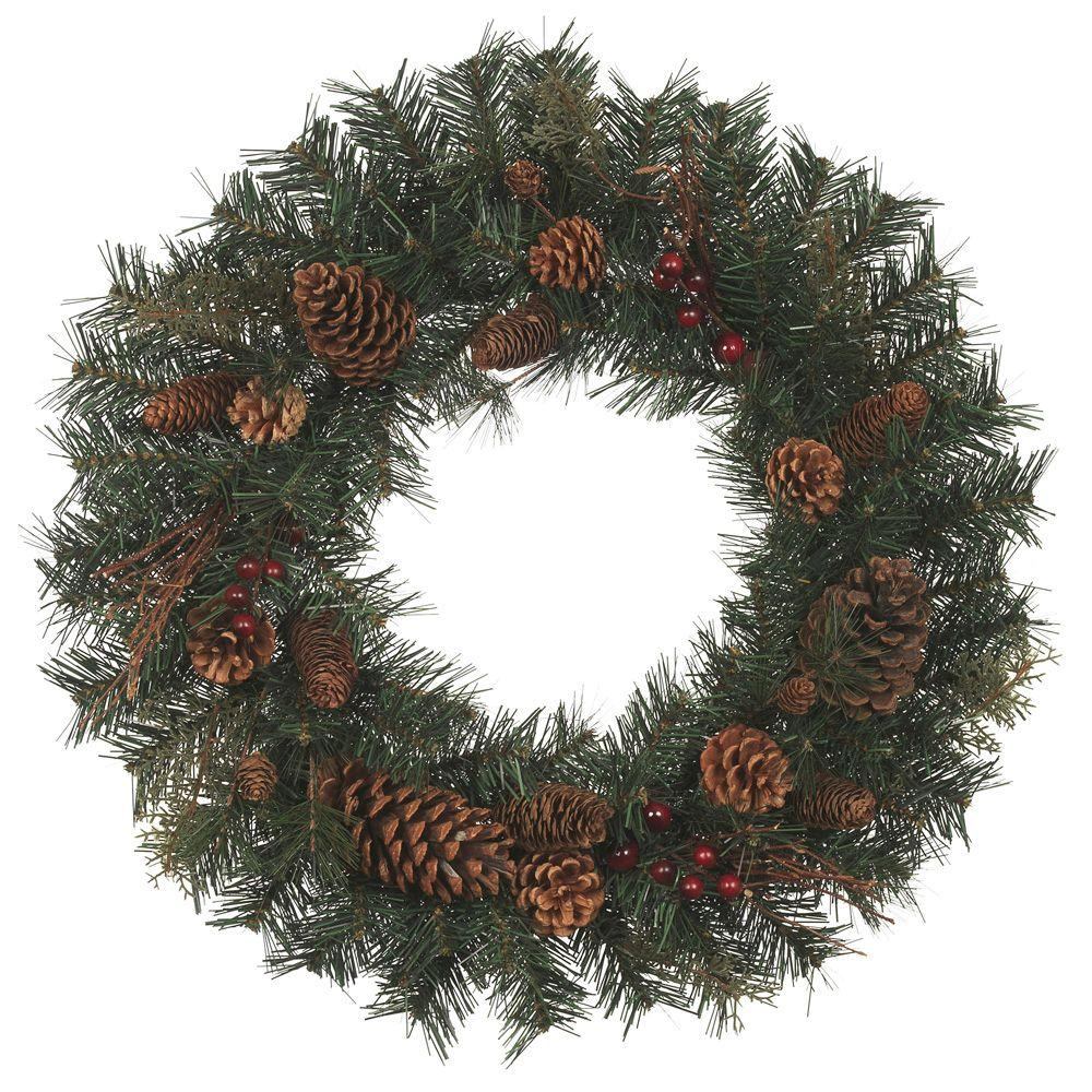 Home Accents Holiday 24 in. Natural Pine Artificial Wreath