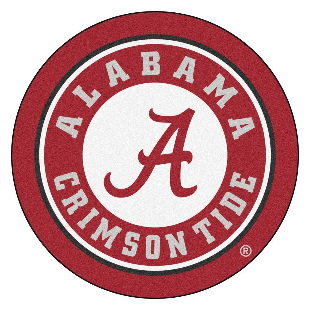 Fanmats Ncaa University Of Alabama Red 2 Ft X 2 Ft Round Area Rug