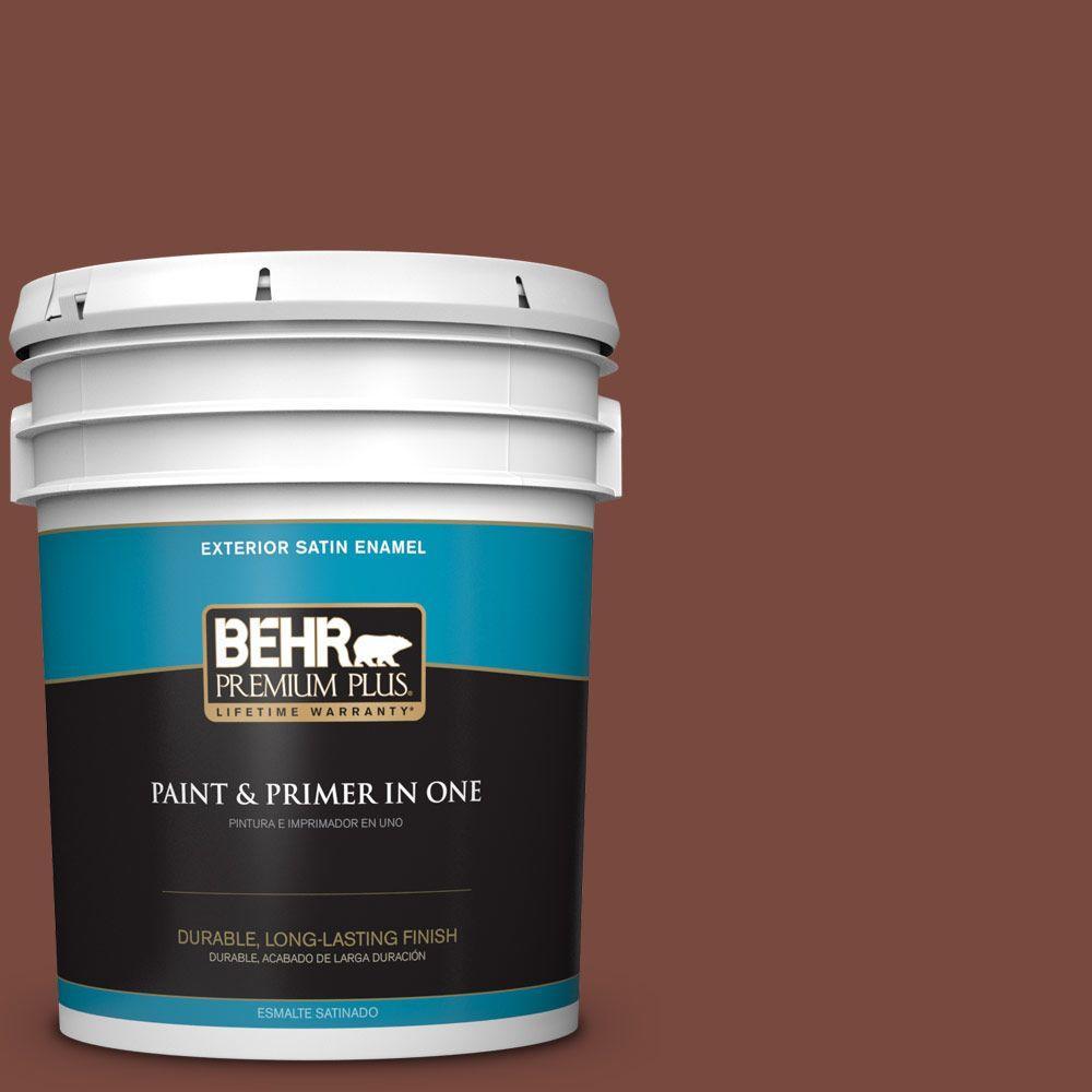 BEHR Premium Plus 5-gal. #200F-7 Wine Barrel Satin Enamel Exterior Paint