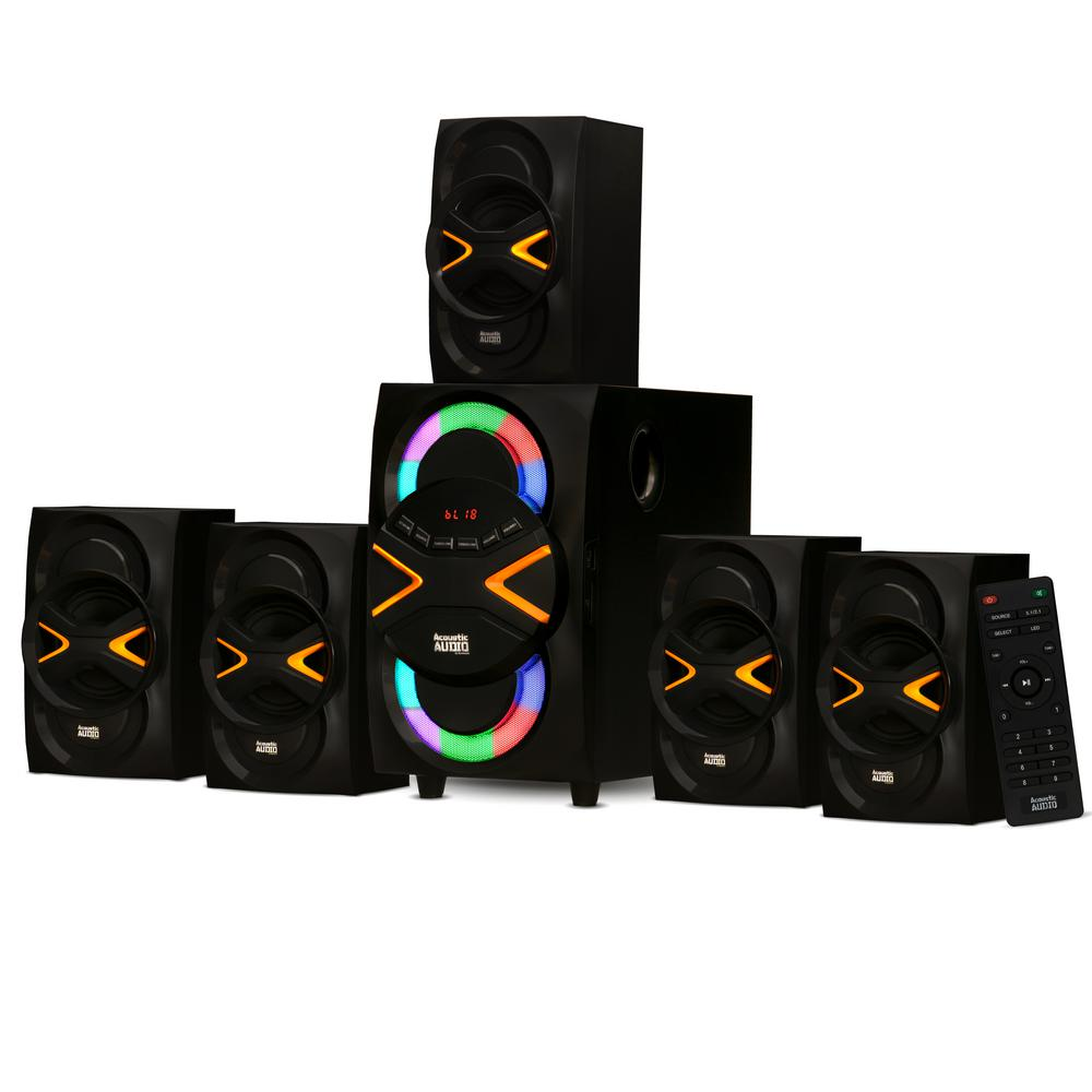 Acoustic Audio By Goldwood Bluetooth 5 1 Speaker System With Led Lights Home 6 Speaker Set Aa5210 The Home Depot