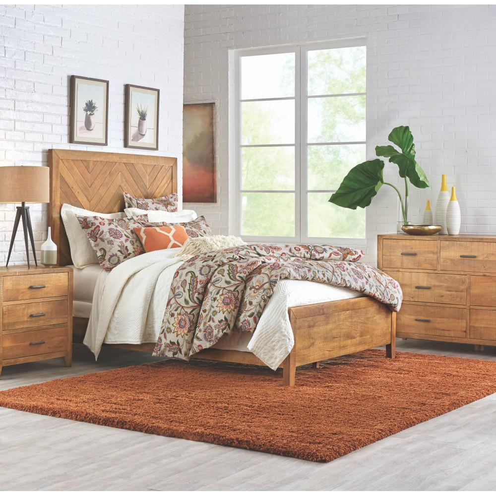 Home Decorators Collection Parkston Distressed Natural Queen Bed Frame Depot Exclusive