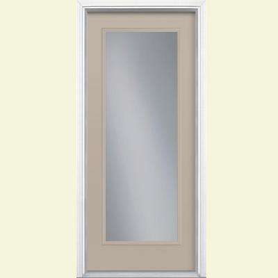36 in. x 80 in. Full Lite Left Hand Inswing Painted Smooth Fiberglass Prehung Front Door w/ Brickmold, Vinyl Frame