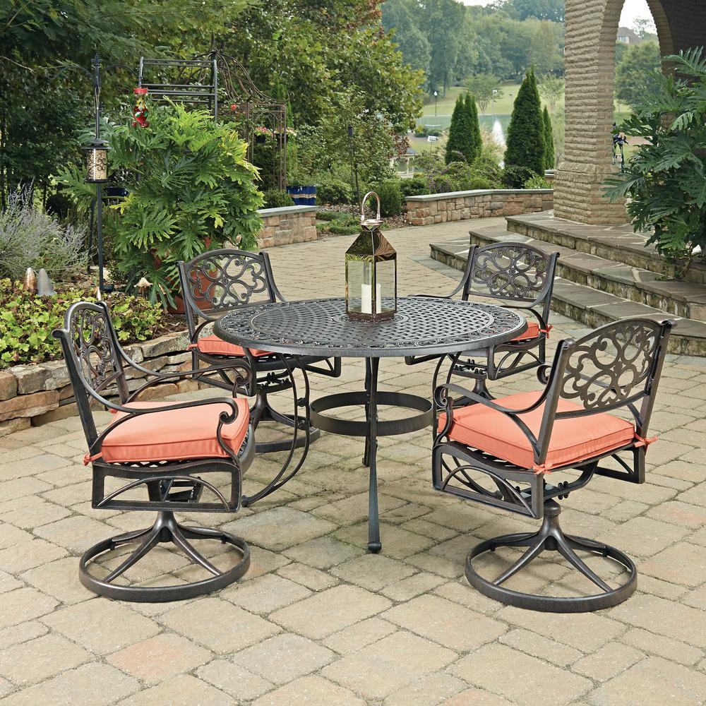 Homestyles Rust Bronze Cast Aluminum Outdoor Set Orange Cushions