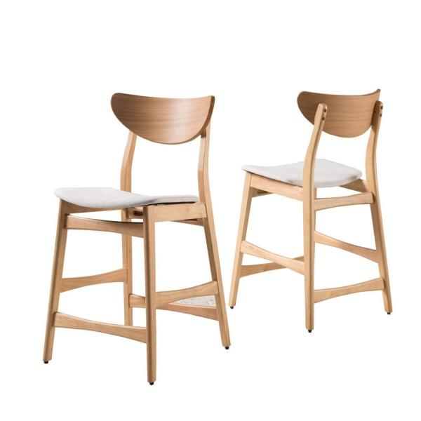 Noble House Lawson 24 in. Light Beige/Oak Finish Fabric Counter Chair