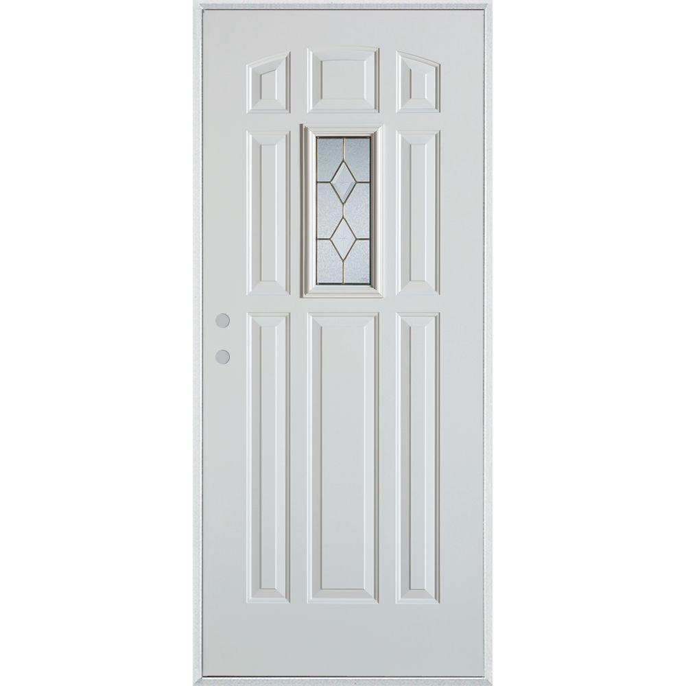 Stanley Doors 36 in. x 80 in. Geometric Zinc Rectangular Lite 9-Panel Painted White Right-Hand Inswing Steel Prehung Front Door