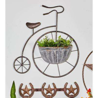 Brown Iron Penny Farthing Wall Planter with Silver Accents