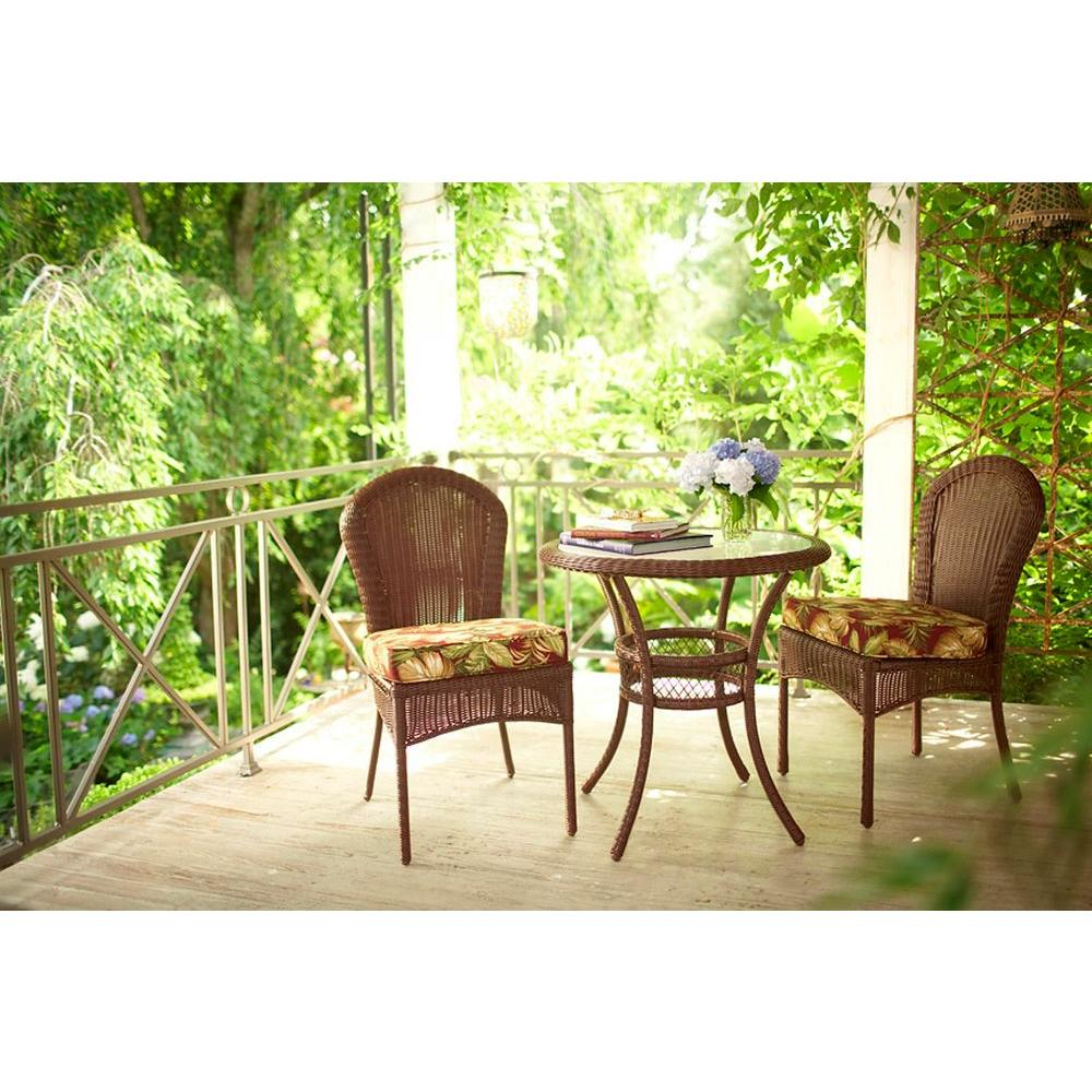 Kingman Bayside Brown All-Weather Wicker 3-Piece Patio Bistro Set-DISCONTINUED