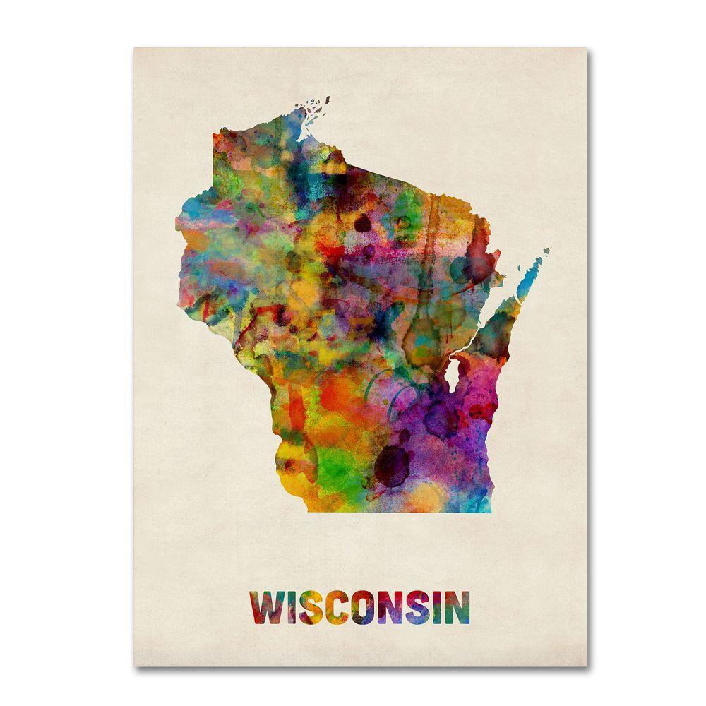 Trademark Fine Art 24 in. x 32 in. Wisconsin Map Canvas Art