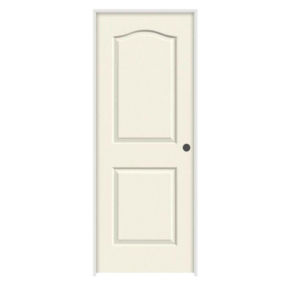 36 in. x 80 in. Camden Vanilla Painted Left-Hand Textured Molded