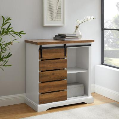 32 in. Solid White/Rustic Oak Rustic Farmhouse Sliding Slat Door Accent Console
