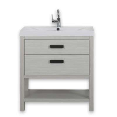 31.5 in. W x 32.4 in. H Bath Vanity in Ash Gray with Resin Vanity Top in White with White Basin